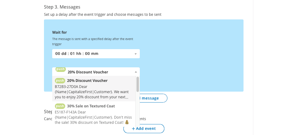 Choose messages for triggered emails in Pushwoosh
